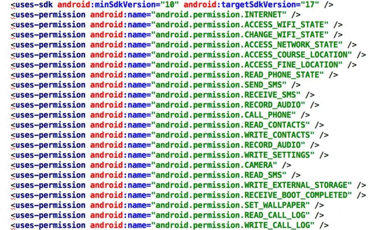 List of locations accessed by hackers on a victim's Android smartphone.