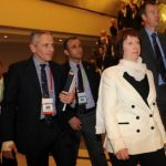 European Union foreign policy chief Catherine Ashton, who represents the P5+1, in the Turkish city of Istanbul, April 14, 2012