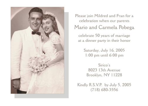 Fiftieth Wedding Anniversary Party Invitation 50th