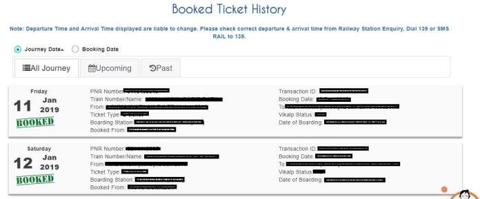 IRCTC Booked Ticket History List page