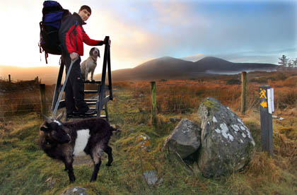 It's a long way to Tipperary...Mountaineer and Outdoor Enthuasist Nathan Kingerlee, Killarney, begining his quest at 'The City of Shrone' Rathmore, County Kerry, to hike the 'Blackwater Way' with his pet goat 'Bob' and his trusted dog 'Caragh. The Blackwater Way is a way-marked trail, stretching from Shrone near Killarney in Kerry, to Clogheen, near Clonmel in Tipperary. A popular route for hikers, it has probably never had such an unlikely group as a man, a goat and a dog travel its paths before.Photo:Valerie O'Sullivan