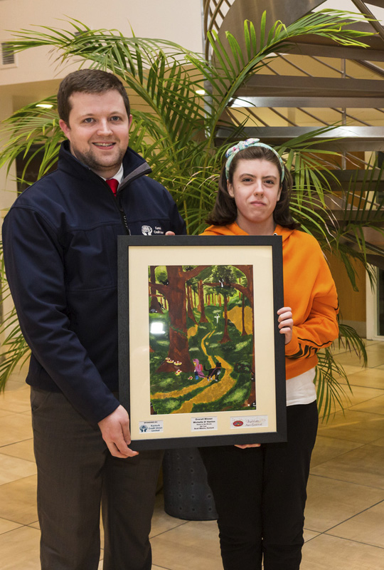 Schools Art Competition Overall Winner Michelle O'Hanlon with Kevin Roche Kanturk Credit Union photo by Jim McSweeney