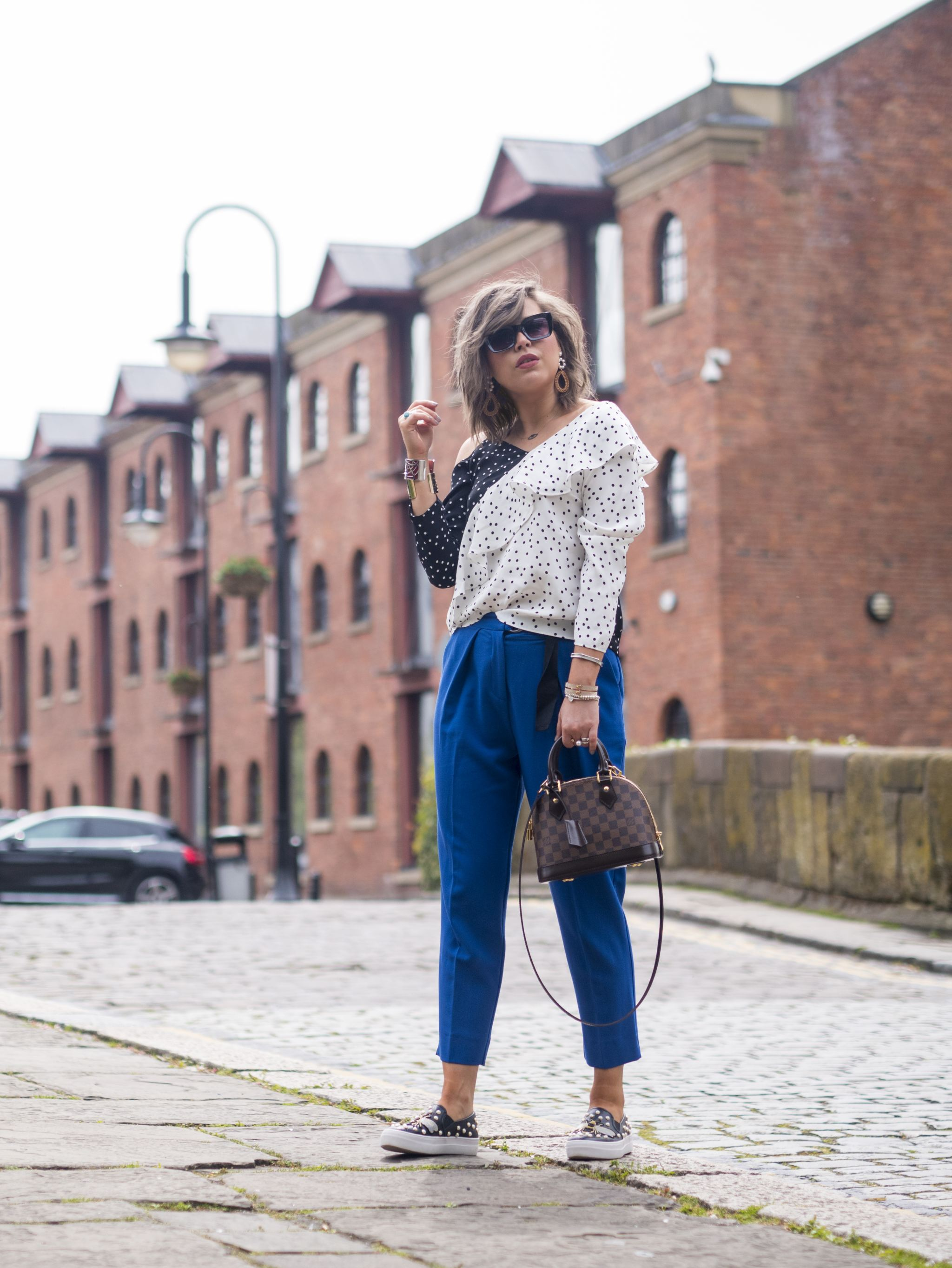 manchester fashion blogger, manchester blogger, off the shoulder, river island top, topshop trousers , alma bb , louis vuitton bag,