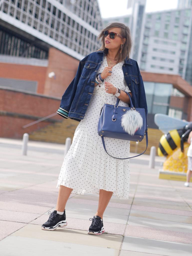 Manchester , manchester fashion blogger, manchester fashion bloggers, fashion looks, summer dresses, belt bag, celine sunglasses, prada saffiano bag , prada bag