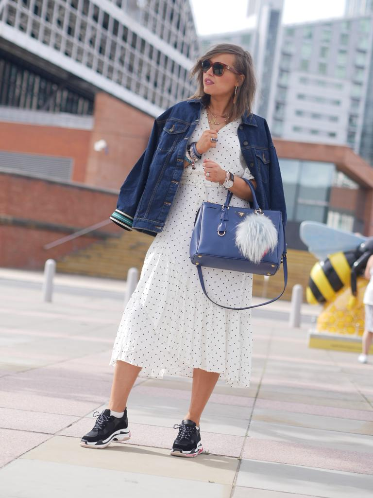 Manchester , manchester fashion blogger, manchester fashion bloggers, fashion looks, summer dresses, belt bag, celine sunglasses, prada saffiano bag , prada bag