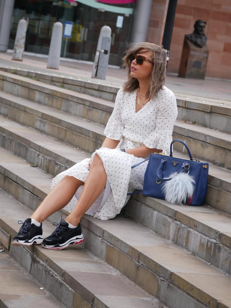 manchester fashion blogger, manchester blogger, Manchester influencer,prada bag, celine sunglasses, celine letter necklace