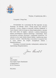This is the photo of the original letter sent to Irena from Pope John Paul II.