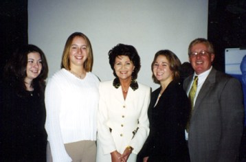 Megan, Sabrina, Kathleen and Mr. Conard with the First Lady of Poland, Jolanta Kwasniewska, at the Jan Karski Award dinner honoring Irena Sendler. October 23, 2003.