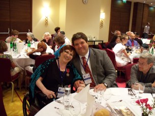 Renata and her son attended the 23rd World Federation of Jewish Child Survivors Conference in Warsaw, Poland, Aug. 2011—you can see her national award pin from the Government of Poland.