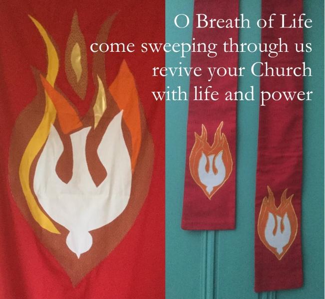 Pentecost banner and stole handmade by Linda Walker