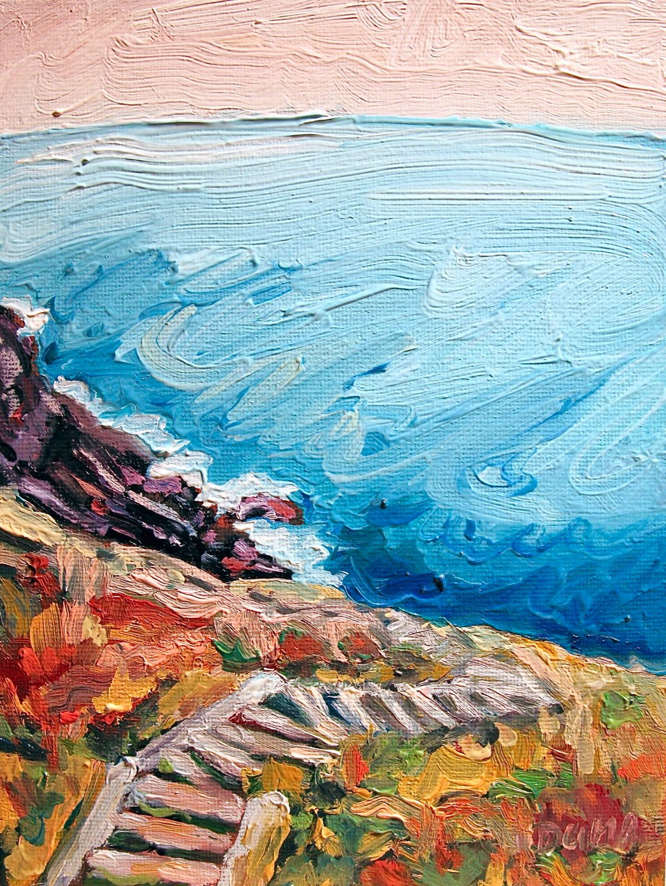 Oil painting of stairs hugging the cliffs on the east coast trail