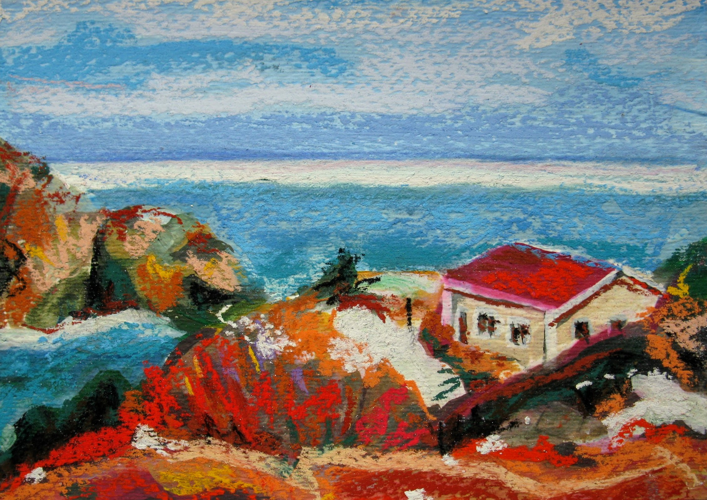 small pastel painting of house at Quidi Vidi