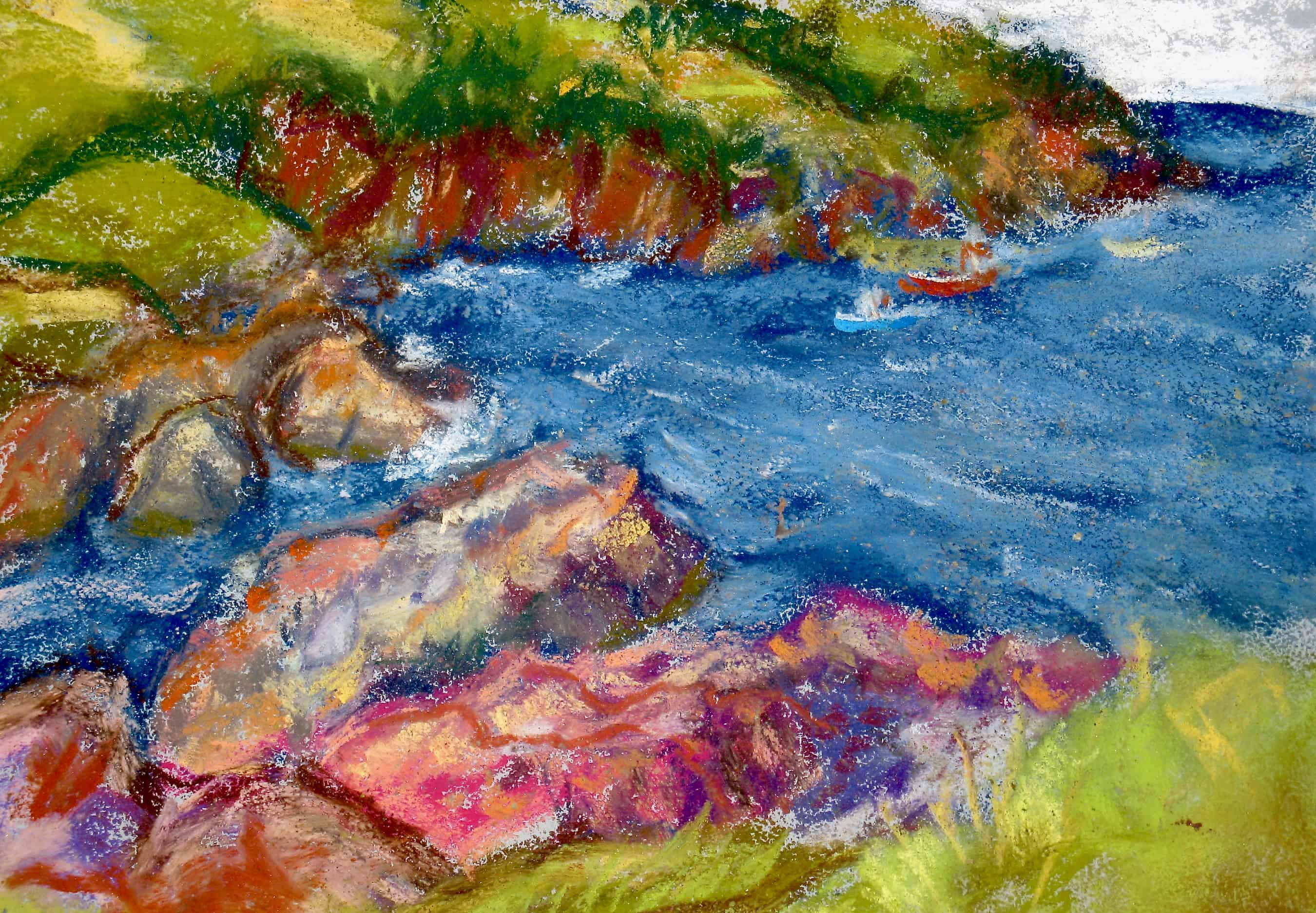 Pastel painting, looking out onto the water at Torbay beach.
