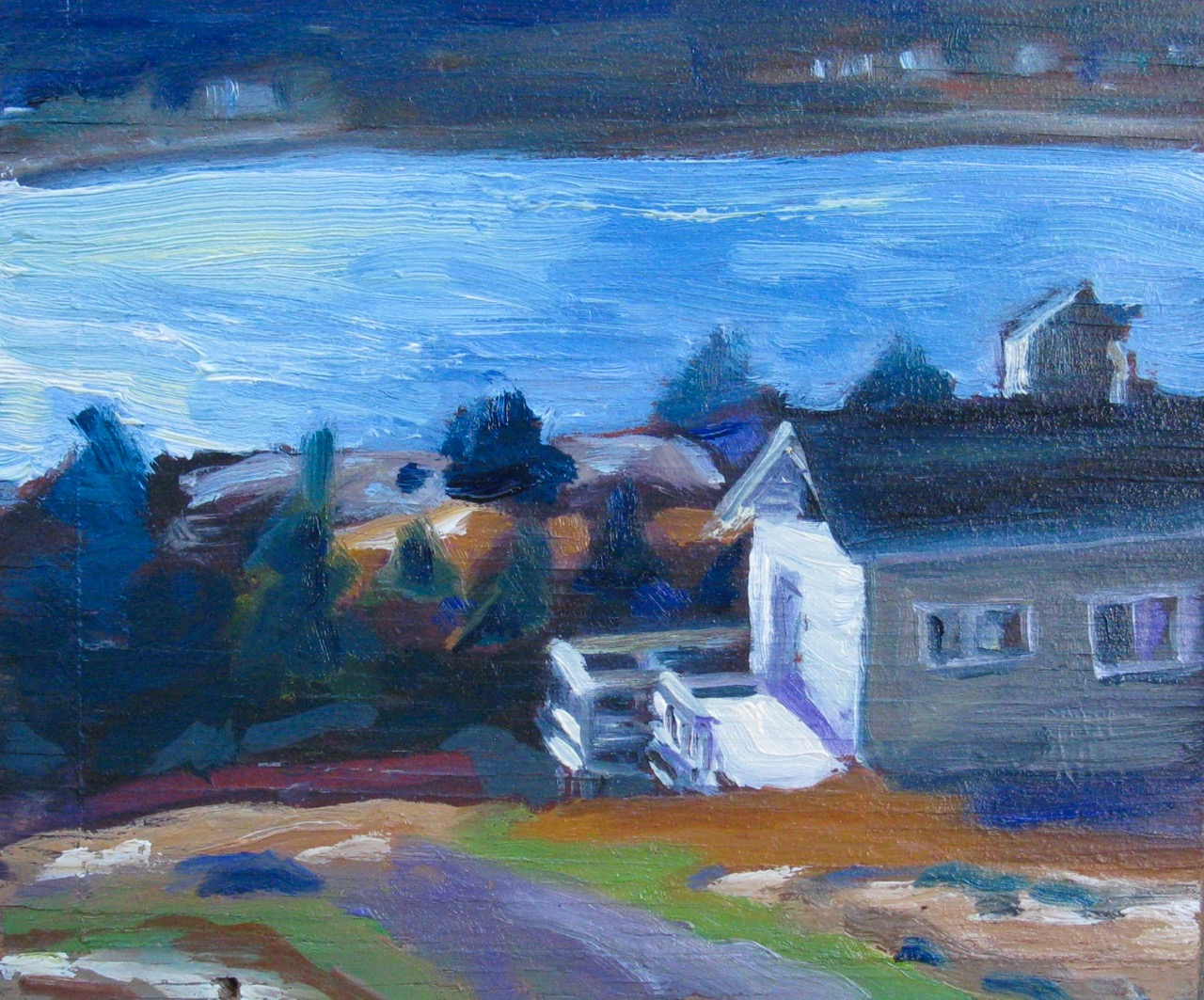 oil painting of blue twilight on the ocean and house