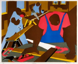Jacob Lawrence (American, Modernism, 1917-2000): Carpenters, 1977.