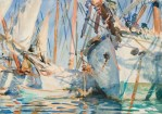 John Singer Sargent (American, Impressionism, 1856–1925): White Ships, c. 1908. Translucent and opaque watercolor and wax resist with graphite underdrawing, 14 x 19-3/8 inches (35.6 x 49.2 cm). Brooklyn Museum, Brooklyn, New York, USA.