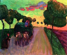 Gabriele Münter (German, Expressionism, 1877-1962): Study of a Haywagon (Entwurf Heuwagen), 1908. Oil on board, 33 x 40.6 cm (13 x 16 inches). Private Collection. © This artwork may be protected by copyright. It is posted on the site in accordance with fair use principles.
