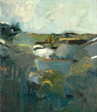 Elmer Bischoff (American, Bay Area Figurative Movement, 1916–1991): Houses and Hills, 1957. Oil on canvas, 76.3 x 66.3 cm. Hirshhorn Museum and Sculpture Garden, Washington D.C., USA. © Estate of Elmer Bischoff. © This artwork may be protected by copyright. It is posted on the site in accordance with fair use principles.