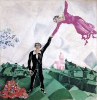 Marc Chagall (French, born Russia — present-day Belarus; 1887-1985): Over the Town, 1918. Oil on canvas, 45 x 56 cm. The State Tretyakov Gallery, Moscow, Russia. © This artwork may be protected by copyright. It is posted on the site in accordance with fair use principles.