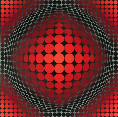 Victor Vasarely (Hungarian/French, Op Art, 1906-1997): Tettye (Untitled). Serigraph. Private Collection. © This artwork may be protected by copyright. It is posted on the site in accordance with fair use principles.