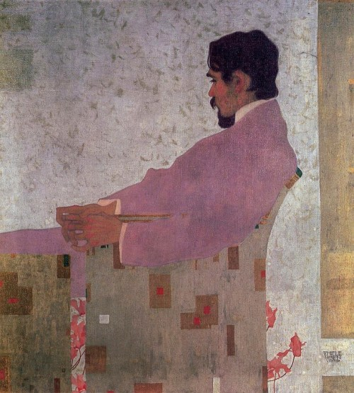 Egon Schiele (Austrian; Expressionism, 1890-1918): Portrait of the Painter Anton Peschka, 1909. Oil and metallic paint on canvas, 110.2 x 100 cm. Private Collection. © This artwork may be protected by copyright. It is posted on the site in accordance with fair use principles.