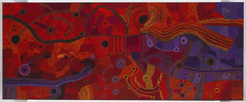 Ken Tjungkara (Australian, Aboriginal — Pitjantjatjara people, Amata, South Australia, Australia; b. 1969): Seven Sisters, 2012. Synthetic polymer paint on canvas, 122.0 x 300 cm. National Gallery of Australia, Canberra, Australia. © Ken Tjungkara. © This artwork may be protected by copyright. It is posted on the site in accordance with fair use principles.