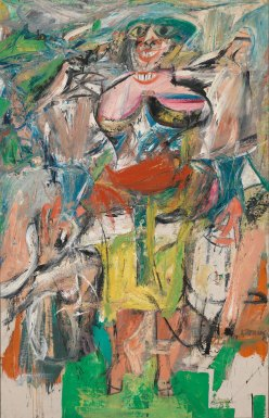 Willem de Kooning (American; Abstract Expressionism, New York School; 1904–1997): Woman and Bicycle, 1952-53. Oil, enamel, and charcoal on linen; 76-1/2 x 49-1/8 inches (194.3 x 124.8 cm). Whitney Museum of American Art, New York, NY, USA. © The Willem de Kooning Foundation/Artists Rights Society(ARS), New York.