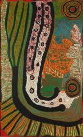 Iyawi Wikilyiri (Australian, Aboriginal — Pitjantjatjara people near Ernabella, South Australia; b. 1943/1947): Ngura Ngarutjara, c. 2012. Acrylic on linen, 120 x 200 cm. Private Collection © Iyawi Wikilyiri. © This artwork may be protected by copyright. It is posted on the site in accordance with fair use principles.