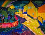 Wassily Kandinsky (Russian; Expressionism, Abstract Art; 1866-1944): Murnau - Landscape with Rainbow, 1909. Lenbachhaus Art Gallery, Munich, Germany. © This artwork may be protected by copyright. It is posted on the site in accordance with fair use principles.