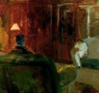 Elmer Bischoff (American, Bay Area Figurative Movement, 1916–1991): Interior with Two Figures, 1965. Oil on canvas, 64 x 67 inches. Private Collection. Image: © Hackett-Freedman Gallery, San Francisco, California, USA. © Estate of Elmer Bischoff. © This artwork may be protected by copyright. It is posted on the site in accordance with fair use principles.