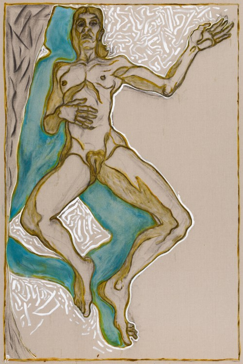 Billy Childish (British, b. 1959): girl reclining version, 2015. Oil and charcoal on linen, 108.07 x 72.05 inches (274.5 x 183 cm). Courtesy the artist and Lehmann Maupin, New York and Hong Kong.