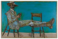 Billy Childish (British, b. 1959): Man on Chairs (Peeling Orange), 2012. Oil and charcoal on linen, 72.05 x 108.07 inches. Courtesy the artist and Lehmann Maupin, New York and Hong Kong.