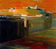 Elmer Bischoff (American, Bay Area Figurative Movement, 1916–1991): Orange Sky, 1958. Oil on canvas. © Estate of Elmer Bischoff. © This artwork may be protected by copyright. It is posted on the site in accordance with fair use principles.