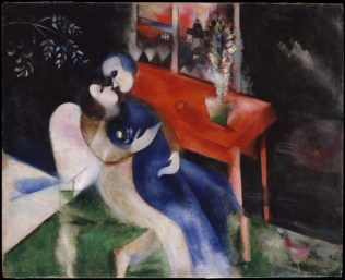 Marc Chagall (French, born Russia — present-day Belarus; 1887-1985): The Lovers, 1913-1914. Oil on canvas, 43 x 53 inches (109.2 x 134.6 cm). Metropolitan Museum of Art, New York, NY, USA. © Artists Rights Society (ARS), New York. © This artwork may be protected by copyright. It is posted on the site in accordance with fair use principles.