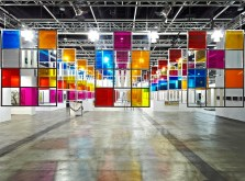 Daniel Buren: From three windows, 5 colors for 252 places, work in situ, 2006. Lisson Gallery, London, UK. © DB-ADAGP.