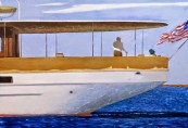 Julio Larraz (Cuban, b. 1944): Sunday on the Narragansett, 2013. Oil on Canvas, 60 x 72 inches. © Julio Larraz. © This artwork may be protected by copyright. It is posted on the site in accordance with fair use principles.