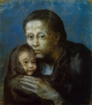 Pablo Picasso (Spanish, 1881-1973): Desemparats (Maternité, Mère et enfant au fichu, Motherhood), 1903. Pastel on paper, 47.5 x 41 cm. Museu Picasso, Barcelona, Spain. © Estate of Pablo Picasso / Artists Rights Society (ARS), New York, NY. © This artwork may be protected by copyright. It is posted on the site in accordance with fair use principles.