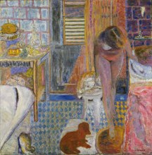 Pierre Bonnard (French; Les Nabis Founding Member, Post-Impressionism, Intimism; 1867-1947): The Bathroom, 1932. Oil on canvas, 47-5/8 x 46-1/2 inches (121 x 118.2 cm). Museum of Modern Art, New York, NY, USA. © Artists Rights Society (ARS), New York / ADAGP, Paris. © This artwork may be protected by copyright. It is posted on the site in accordance with fair use principles.