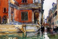 John Singer Sargent (American, Impressionism, 1856–1925): Scuola di San Rocco, 1903. Created in Venice, Italy. Watercolor on paper, 35.6 x 50.8 cm. Private Collection. Image: Pragmatic Romanticist.