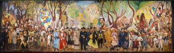 Diego Rivera (Mexican; Social Realism, Mexican Mural Movement; 1886-1957): Dream of a Sunday Afternoon in Alameda Park (Sueno de una tarde dominical en la Alameda Central), 1947-48. Fresco: 7 tons, 4.8 x 15 m (13 x 50 ft). Museo Mural Diego Rivera, Mexico City, Mexico City. Originally in the Hotel del Prado on Alameda Park. © This artwork may be protected by copyright. It is posted on the site in accordance with fair use principles.