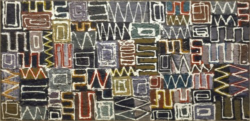 Lee Krasner (American, Abstract Expressionism, 1908-1984). Untitled, 1948. Oil on pressed wood. 18 x 38 inches (45.7 x 96.5 cm). The Jewish Museum, New York. © The Pollock-Krasner Foundation/Artists Rights Society (ARS), New York.