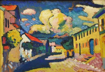 Wassily Kandinsky (Russian; Expressionism, Abstract Art; 1866-1944): Murnau, Dorfstrasse (A Village Street), 1908. Oil on cardboard, later mounted on wood panel; 48 x 69.5 cm, The Merzbacher Collection, Switzerland. © This artwork may be protected by copyright. It is posted on the site in accordance with fair use principles.