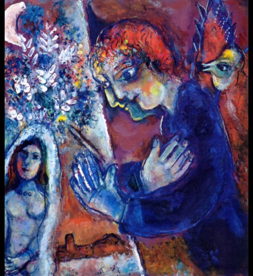 Marc Chagall (French, born Russia — present-day Belarus; 1887-1985): Artist at Easel, c. 1965. Oil on canvas, 55.5 x 49 cm. Private Collection. © This artwork may be protected by copyright. It is posted on the site in accordance with fair use principles.