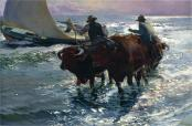 Joaquin Sorolla (Valencian Spanish, Impressionism, 1863-1923): Bulls in the Sea, 1903. Oil on canvas, 131 x 190 cm (51.6 x 74.8 inches). Private Collection.