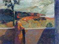 Elmer Bischoff (American, Bay Area Figurative Movement, 1916–1991): Red Cliffs, 1963. Oil on canvas, 78 x 103 inches. John Berggruen Gallery, San Francisco, California, UK. © Estate of Elmer Bischoff © This artwork may be protected by copyright. It is posted on the site in accordance with fair use principles.