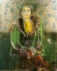 Pablo Picasso (Spanish, 1881-1973): Dora Maar with a Crown of Flowers, 1937. Pencil, pastel and scratching drawing, 11-1/2 x 9-1/4 inches. Private Collection. © This artwork may be protected by copyright. It is posted on the site in accordance with fair use principles.