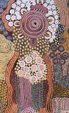 Anawari Mitchell (Australian, Aboriginal — Papulankutja, also referred to as Blackstone, Goldfields-Esperance Region of Western Australia, Australia; b. 1959): The Seven Sisters, c. 2000s. Acrylic on canvas, 75 x 153 cm. © Anawari Mitchell. © This artwork may be protected by copyright. It is posted on the site in accordance with fair use principles.