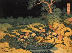 Hokusai, Katsushika (Japanese, Ukiyo-e, 1760-1849): Fishing by Torchlight in Kai Province (Kôshû hiburi), from the series One Thousand Pictures of the Ocean (Chie no umi); c. 1833. Edo Period. Color woodblock print (nishiki-e); ink and color on paper.