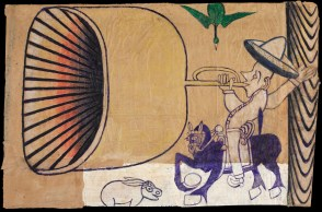 Martín Ramírez (Mexican-American, Outsider Art, 1895–1963): Untitled (Horse and Rider with Bugle, Rabbit and Green Bird), c. 1960-1963.