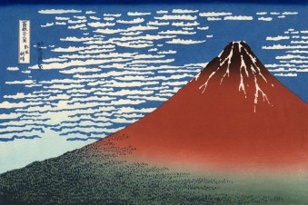Hokusai, Katsushika (Japanese, Ukiyo-e, 1760-1849): Fuji, Mountains in clear Weather (Red Fuji), 1831. Series: Thirty-six views of Mount Fuji. Color woodblock print. Private Collection.